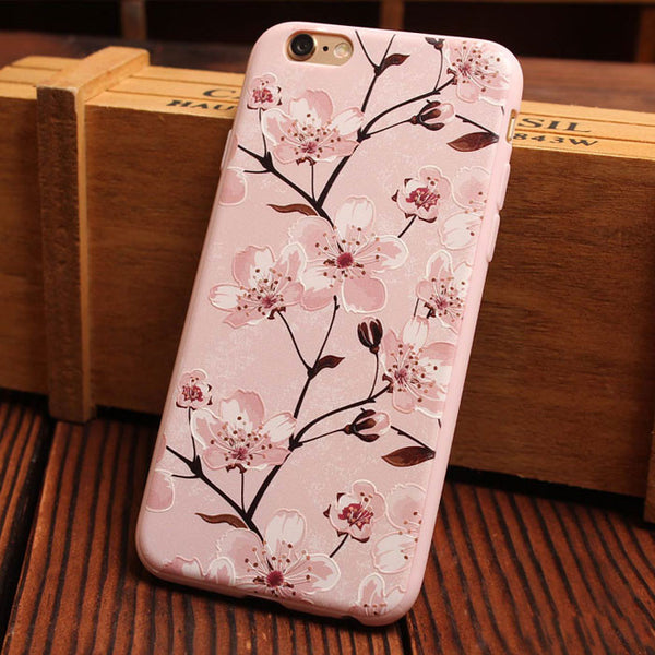 Cherry Flower Relief Silicone Soft Iphone Cases For 6/6Plus - lilyby