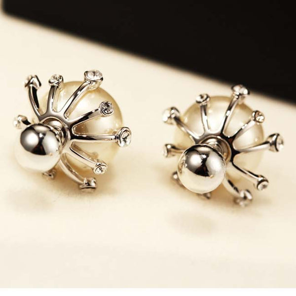 Elegant Frosted Pearl Ball Diamond-bordered Silver Women Earring Studs