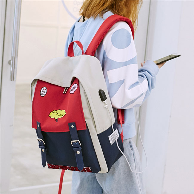 Fresh Red Blue Contrast Color High School Student Bag Large Capacity College Backpack