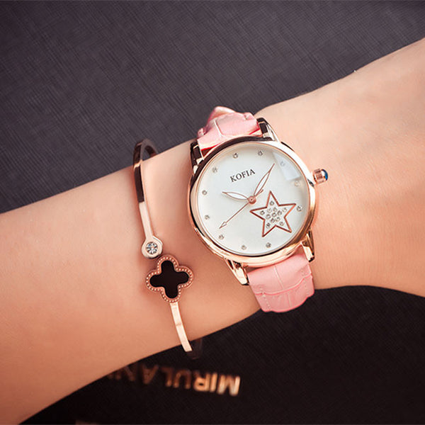 Eleghant Diamond Quartz Cortical Star Luminous Waterproof Women Wrist Watch