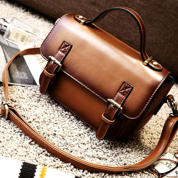 Retro Brown Glossy Flap PU Messenger Bag  Magnetic Metal Button Handbag Shoulder Bag