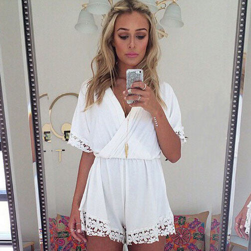 Lace Deep V-Neck Slim Piece Romper - lilyby