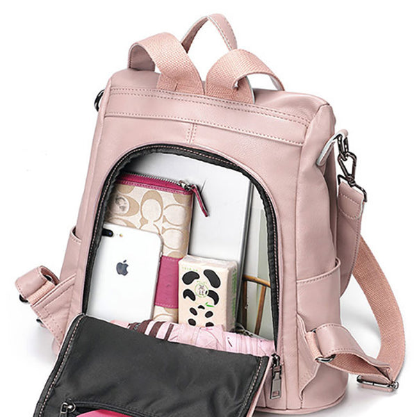 Elegant Pink Bow-knot Soft Leather Multi-function Shoulder Bag Student Backpack