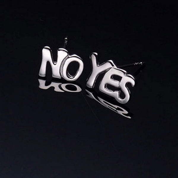 Creative Letter YES NO Anti Allergy Girl's Earring Studs