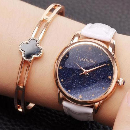 Elegant Circular Shining Starry Sky Dial Galaxy Waterproof Women Quartz Watch