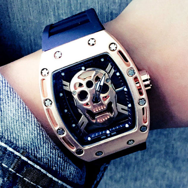 Punk Skull Diamond-embedded Square Dial Rubber Strap Quartz Watch