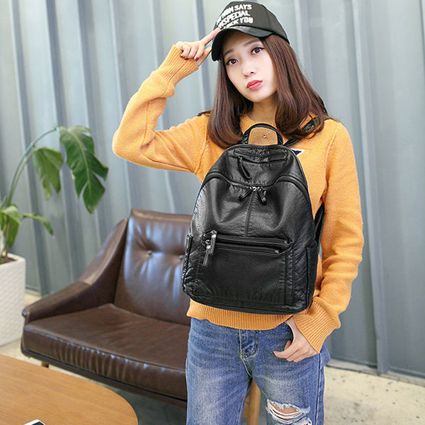 Cool Black Soft Leather Ladies Simple Large School Backpack