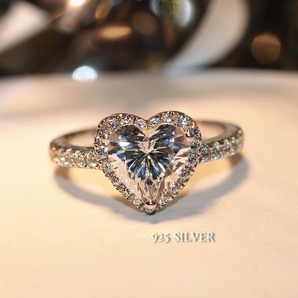 Romantic Love Heart Zircon Wedding Jewelry Silver Diamond Ring