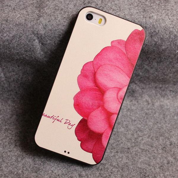 Sweet Red Half Flower Silicone Soft Iphone Cases For 5/5S