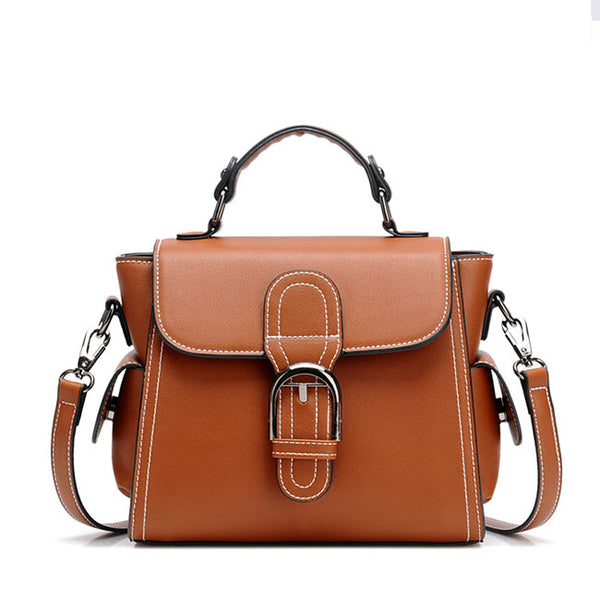Retro Brown Single Button Elegant Women's PU Shoulder Bag