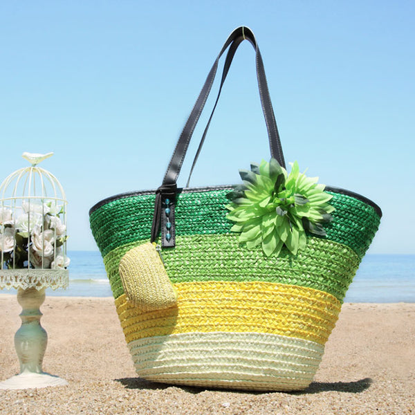 Fresh Summer Rainbow Flower Stripe Beach Tote Bag  Girl's Weave Handbag