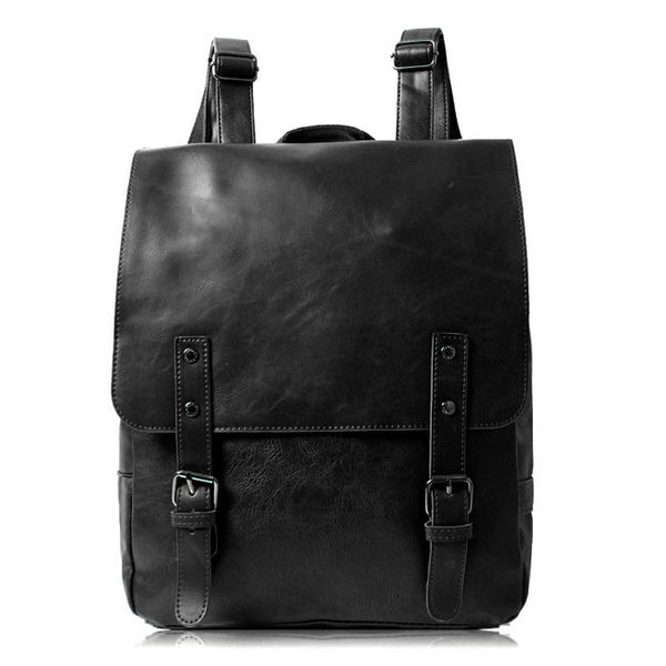 Folk British Style Schoolbag Backpack Leaves Leather College Rucksack