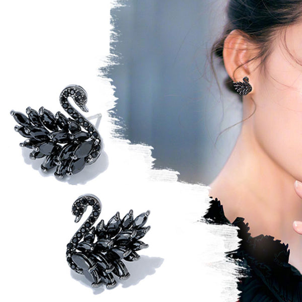 Fashion Black White Swans Animal Zircon Earrings Studs