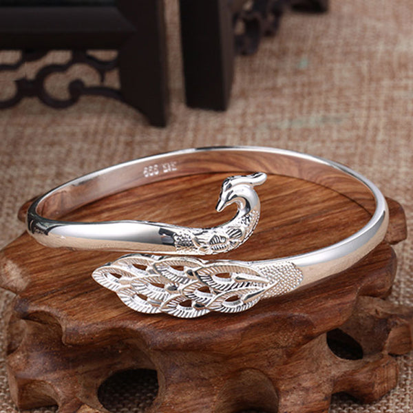 Unique Silver Peacock Adjustable National Handmade Animal Bracelet