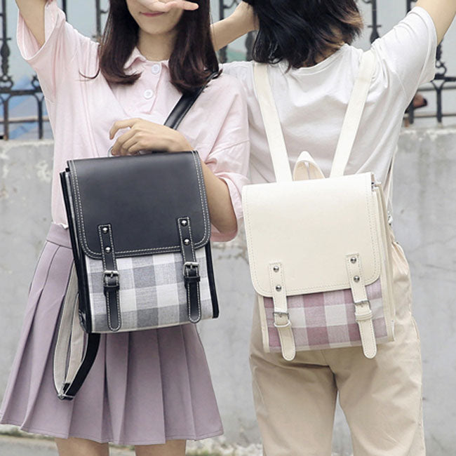 Fresh Two Belts Lattice Student Bag Grid College Square Backpack
