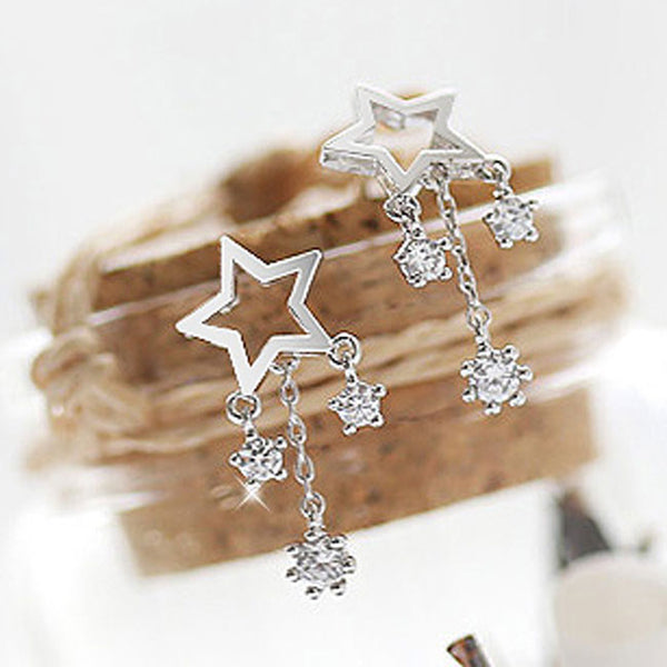 Fashion Rhinestone Drop Lady Wish Stars Silver Earrings Studs