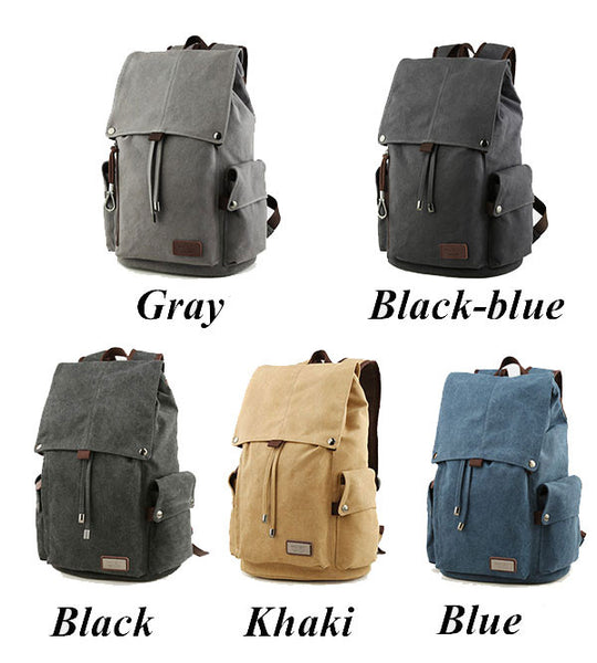 Retro Drawstring Travel Laptop School Bag Large Men's Canvas Hiking Backpack