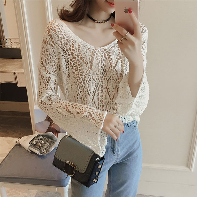Flare Long-sleeved Hollowed-out See-through Irregular Sweater