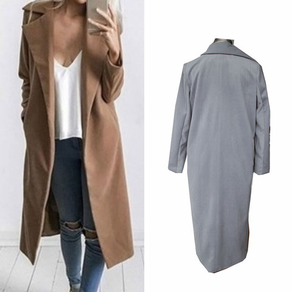 Fashion Fall Long-style New Woolen Coat Wide Lapel Whole Color Wool Simple Style Women's Overcoat