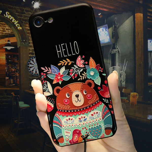 Cute Cartoon Embossed Bear Hello Flowers Iphone 6/6s/6 plus/6s plus/7/7 plus Case Iphone Cover