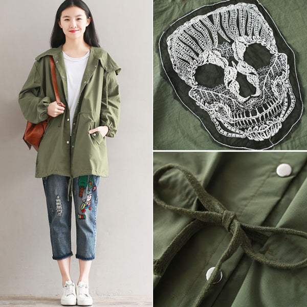 Punk Women's Fall Middle Style Green Draw String Nipped Waists Trench Coat Back Skull Splicing Coat
