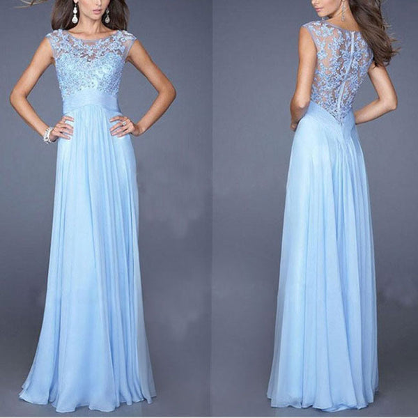 Women's Blue Formal See Through Long Lace Splicing Chiffon Prom Bridesmaid Wedding Maxi Party Dress