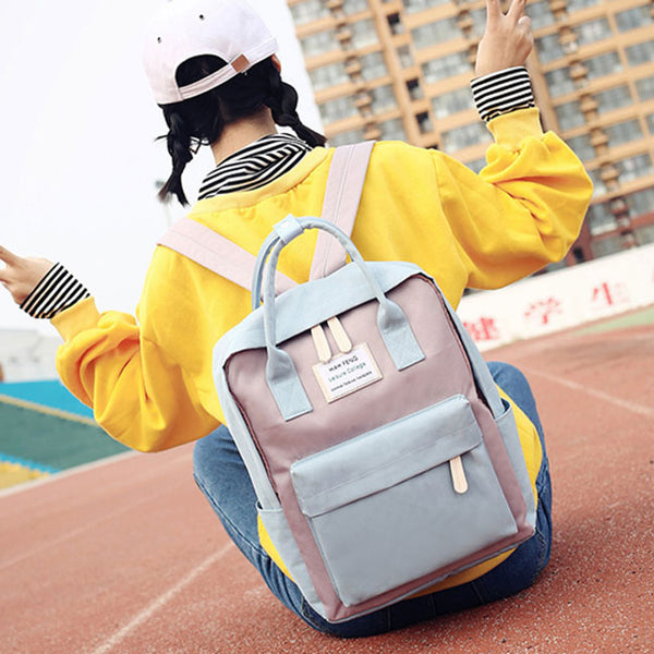 Fresh High School Students Multi-function Campus Shoulder Bag College Canvas Backpack