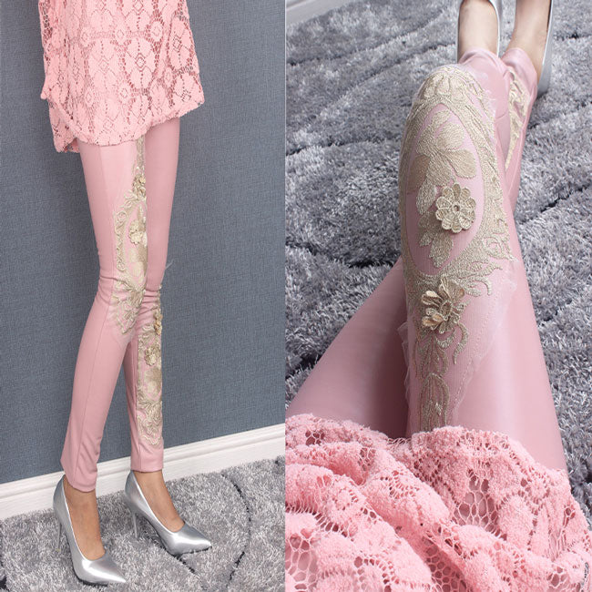Elegant Gold Thread Embroidery Lace Splicing Matte Fuax Leather Fall Winter Cotton Velvet Ninth Leggings