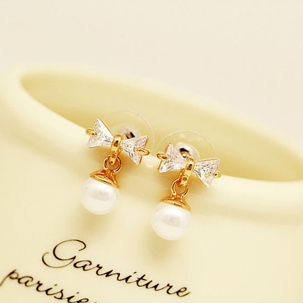 Fashion Bow Knot Pearl Crystal Drop Earrings Studs