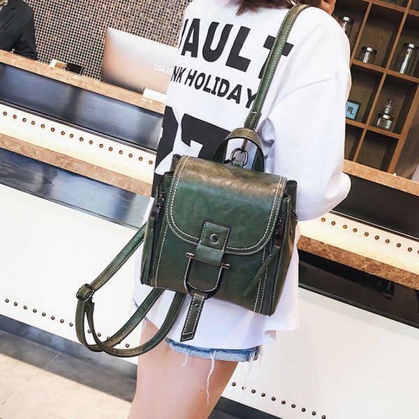 Elegant Multi-function Leather Small Messenger Bag Shoulder Bag Mini Backpack