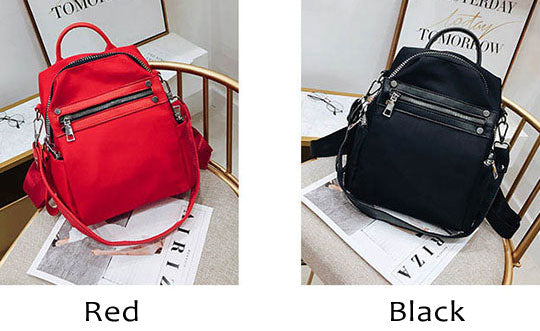 Creative Red Black Nylon College Multi-function Shoulder Bag Student Backpack