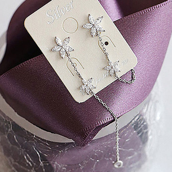 Fashion 925 Sterling Silver Flower Threader Tassel Chain Earring Studs