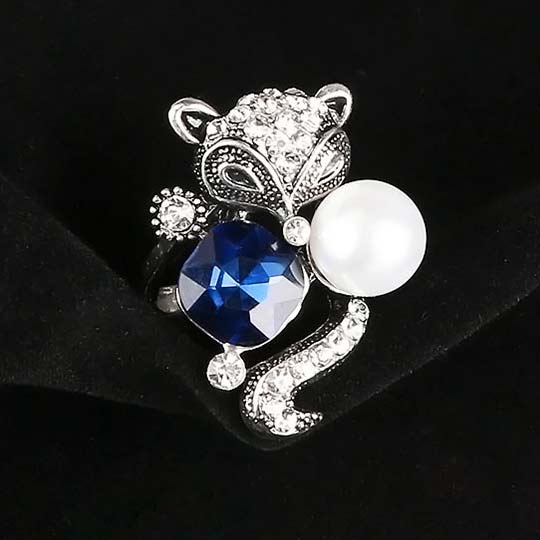 Retro Blue Crystal Pearl Fox Ring Animal Two Set Rings