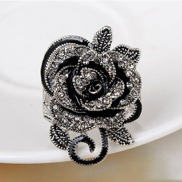 Cute Rose Black Flower Rhinestone Ring