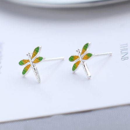 Fresh Vivid Dragonfly Yellow Green Wings Silver Girl's Cute Animal Earring Studs