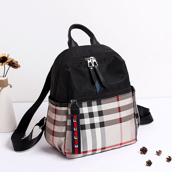 Casual Multifunction School Bag Plaid Oxford Backpack