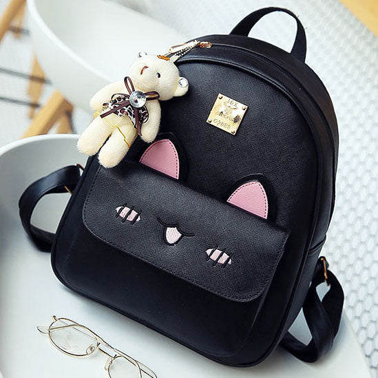 Cartoon Girls PU Embroidered Rabbit Face Backpack Stereo Rabbit Ears  Animal School Backpack