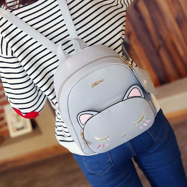 Cute Cat Printing Leisure Kitty Cartoon Kitten PU School Backpacks