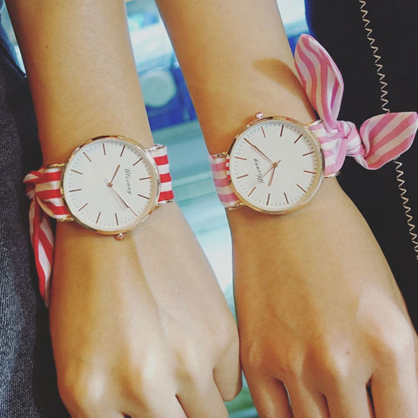 Simple Style Dial Bracelet Girl's Chic Color Stripe Fresh Floral Cloth Strap Student Quartz Watch