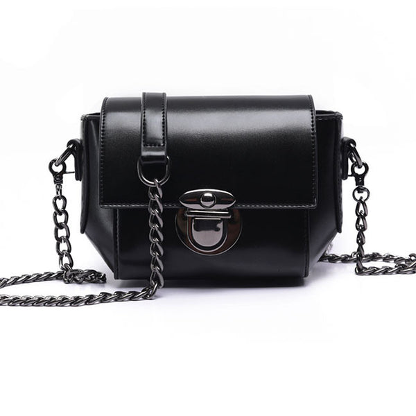 Retro Waxy Feel PU Metallic Lock Chain Flap Mini Leisure Women Shoulder Bags