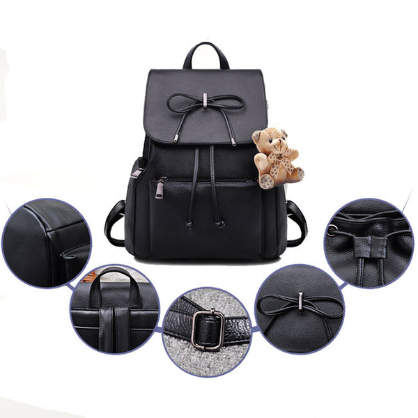 Unique Flap Draw String Large Capacity Bow Bear Doll Black PU School  Bag Backpack