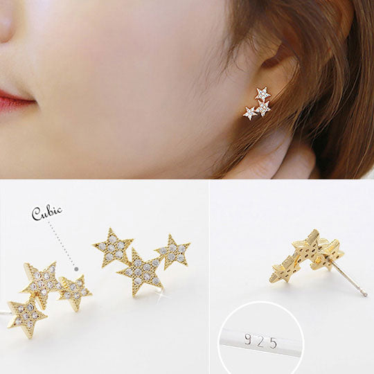 Fashion Women's Sterling Silver Wild Star Zircon Earrings Studs