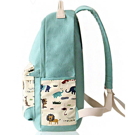 Fresh Animal Canvas Backpack Elephant Giraffe Print Schoolbag Backpack - lilyby