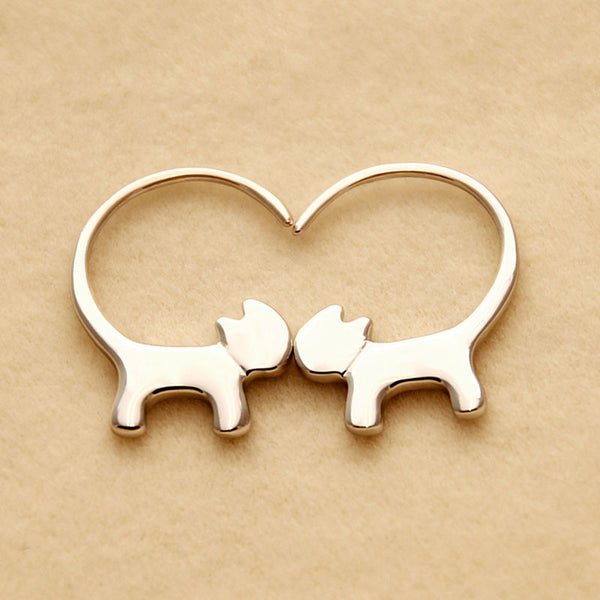Lovely Cat Long Tail Hang Kitty Silver Women Earring Studs