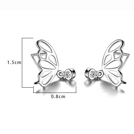 Cute Hollowed-out Butterfly Wings Mini Crystal Pendant Silver Animal Earring Studs