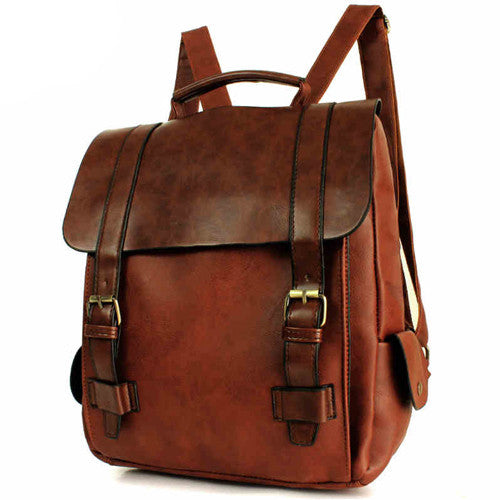 Retro Double Hasp Solid Brown Travel School Bag College Backpack