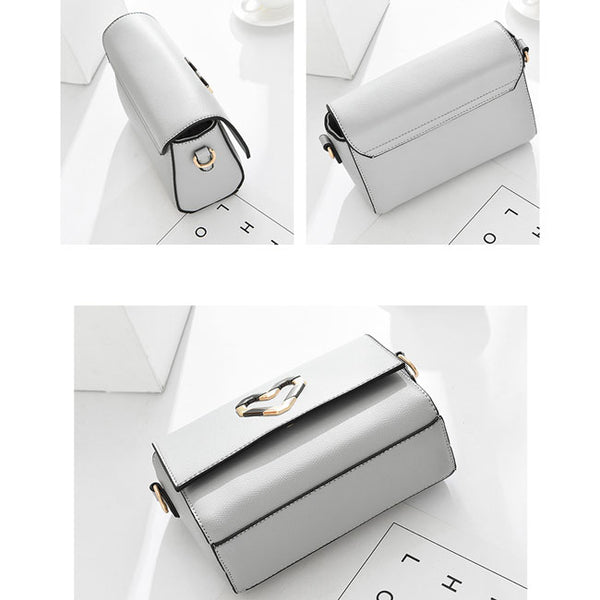 Elegant PU Metal Love Heart Flap Square Lady Shoulder Bag