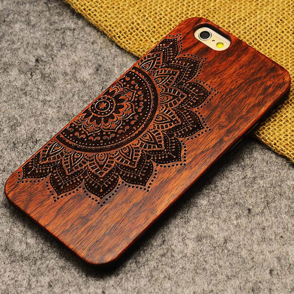 Handmade Carving Imperfect Beauty Sunflowers Wood  Case For Iphone 5/5S/6/6Plus - lilyby
