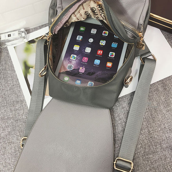 Elegant Lady Multi-function Shoulder Bag Ring PU Backpack
