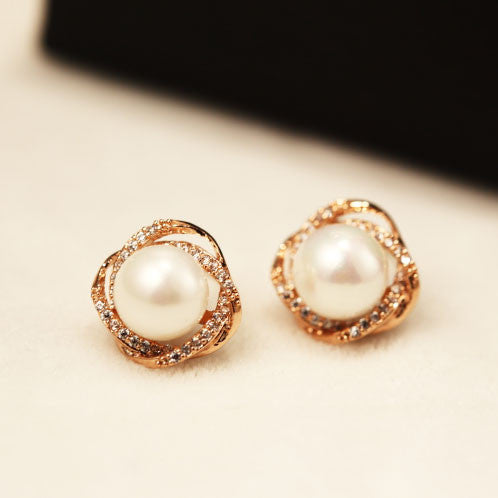 Cute Spiral Winding Pearl Rhinestone Geometry Women Stud Earrings